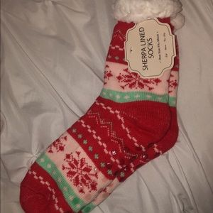 Sherpa lined Christmas socks